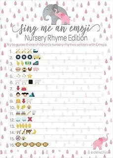 Pink Elephant Baby Shower Nursery Rhyme Emoji Game - 20 Guests