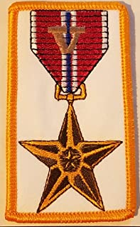 BRONZE STAR Medal Embroidered Iron-On Patch With V Valor #5