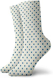 Kevin-Shop Calzini a Compressione Classici, Polka DOT Lucy 's Blue And Cream () Sport Athletic 11,8 Pollici (30 cm) Calze ...