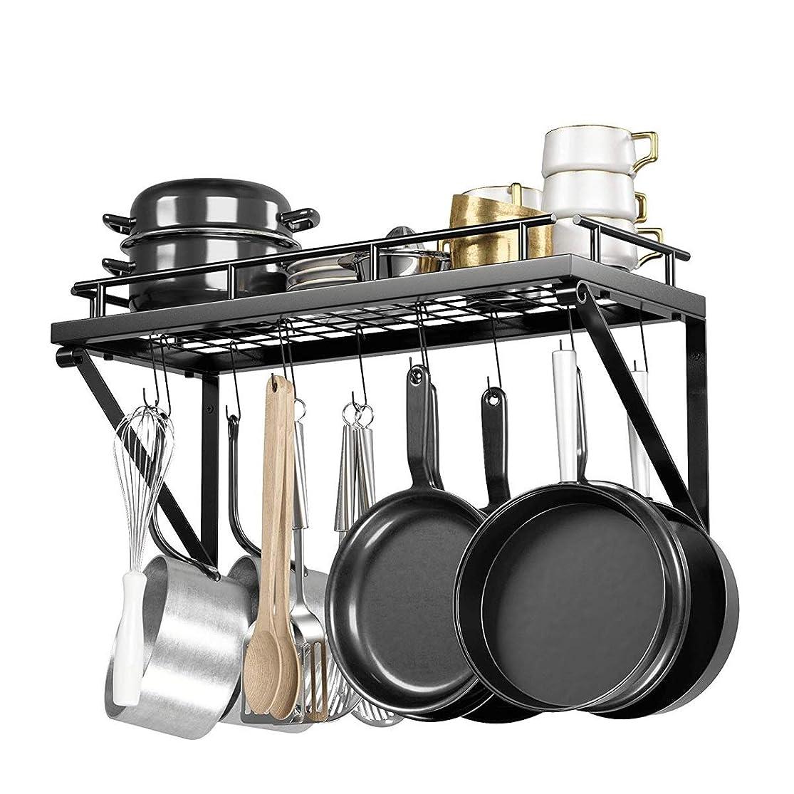 コック不適当トランジスタチュアンロン 壁掛け型キッチン収納ラック、12個のフック、取り付けが簡単、頑丈な鍋やフライパン用のキッチンソリューション (Color : Black)