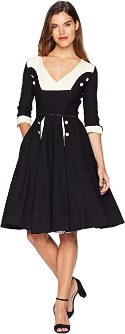 Retro Style Sleeved Lydia Swing Dress