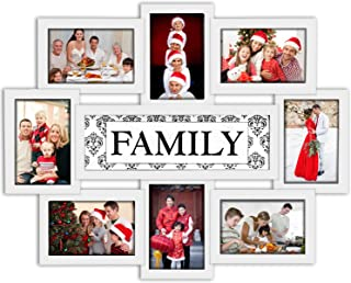 Jerry & Maggie - Photo Frame 22x17 White Family Picture Frame Selfie Gallery Collage Wall Hanging for 6x4 Photo - 8 Photo Sockets - Wall Mounting Design