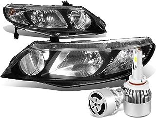 For Honda Civic 8th Gen 4DR Sedan Pair of Black Housing Clear Corner Headlight + 9006 LED Conversion Kit W/Fan