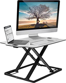 Mount-It! Tabletop Standing Desk Converter, Pre-Assembled Ergonomic Stand Up Desk for Laptop and Monitor, 32 Inch Wide, White (MI-7938)