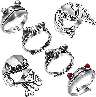 6Pcs Frog Rings, Vintage Creative Animal Finger Frog Ring, Adjustable Open Cute Engagement Ring for Women Lady Girls Fashi...