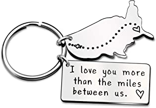 Key Chain Ring Best Friend Valentine Long Distance Relationship Gift - I Love You More Than The Miles Between Us