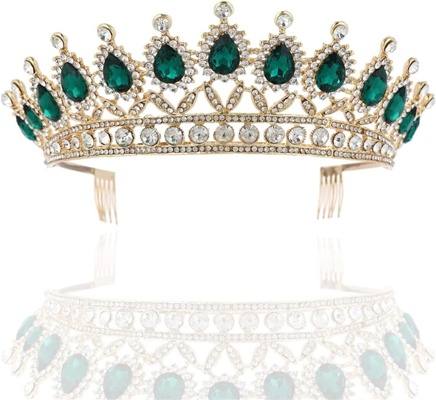 YUANBOO Baroque Crystal Wedding Bridal Jewelry Sets Tiaras Crown Earrings Necklace Bride Women Pageant Prom Jewelry Set Hair Ornaments (Metal Color : 1Pcs Green Crown)