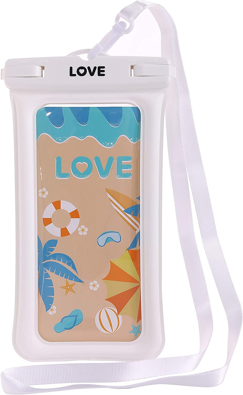 LOVE Floating Waterproof Phone Pouch Case Underwater Dry Bag IPX8 TPU for iPhone Galaxy Pixel All Smart Phone up to 6.9
