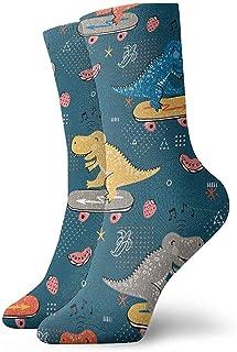 Be-ryl, Niños con Dinosaurio Lindo. Calcetines de Atletismo Casuales Dibujados a Mano Doodle Dinosaur Skater