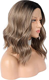eNilecor Ash Brown Lace Front Wigs, Short Ombre Brown/Blonde Bob Wig Ombre Mixed Color with Black Root Wavy Synthetic Wig Middle Parting Wig for Women(Brown)