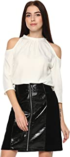 American-Elm Women Biege 3/4 th Sleeve Slim Fit Top