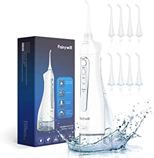 Fairywill Water Flosser Portable Dental Oral Irrigator with 3 Modes, 8 Replaceable Jet Tips, Rechargeable Waterproof Teeth Cleaner for Home and Travel, 300ml Detachable Reservoir