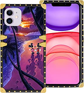 DISNEY COLLECTION iPhone 11 6.1 Inch 2019 Luxury Phone Case Mickey Minnie Beautiful Beach Romantic Sunset Square Phone Cover Metal Decoration Corner Shockproof Phone Shell
