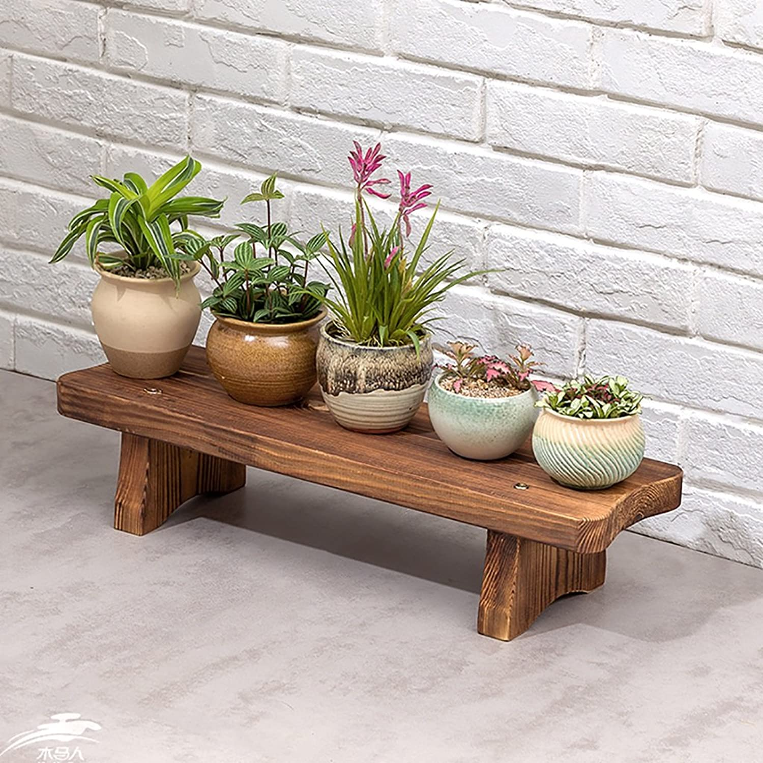 Standing Flower Stand Flower Stand Solid Wood Landing Flower Stand Balcony Living Room Flower Pot Rack Shelf Decorative Frame (color   S, Size   60cm)