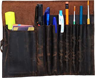 Genuine Leather Pencil Roll Brush Case Pen Holder Organizer Brushes Ruler Stationary Pouch Students Artist Painter & Write...