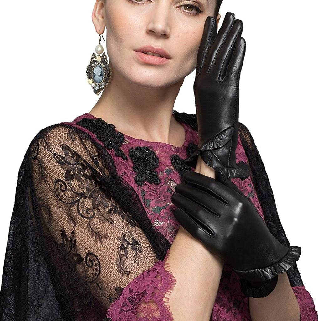 CASF Women's Stylish Genuine Leather Gloves For Ladies Driving With Flounced