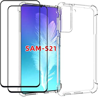 EasyLifeGo for Samsung Galaxy S21 5G Case with Tempered Glass (2 Pieces) Slim Shock Absorption TPU Soft Edge Bumper with R...