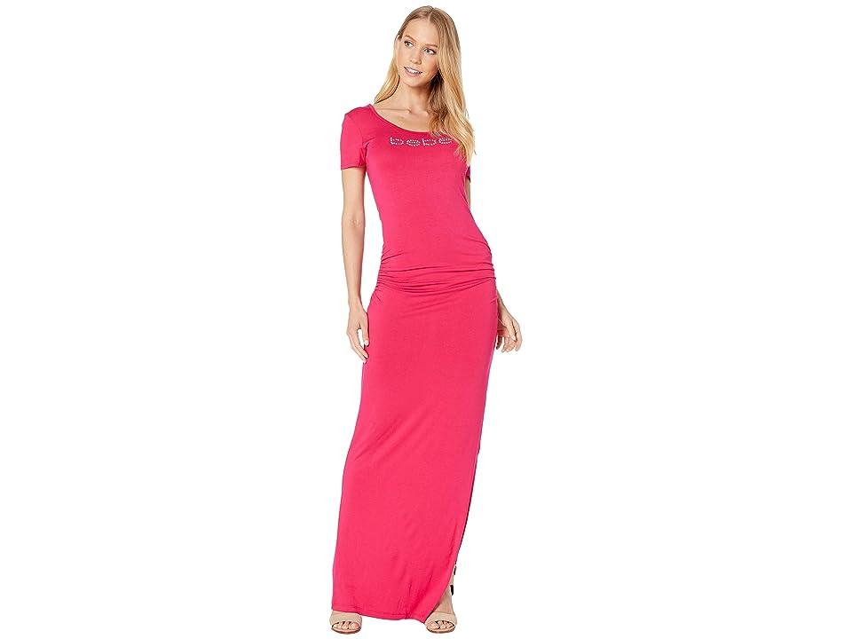 Bebe Maxi Dress with Side Slit (Fuchsia Purple) Women