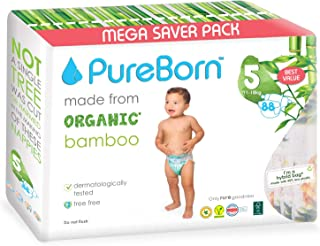 PureBorn Size 5 Disposable Diapers Pack, 11 to 18 kg, 88 Count - Assorted Prints