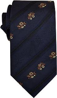 Remo Sartori - Elegante Cravatta Blu con Fantasia Floreale Oro a Righe, Made In Italy, Uomo