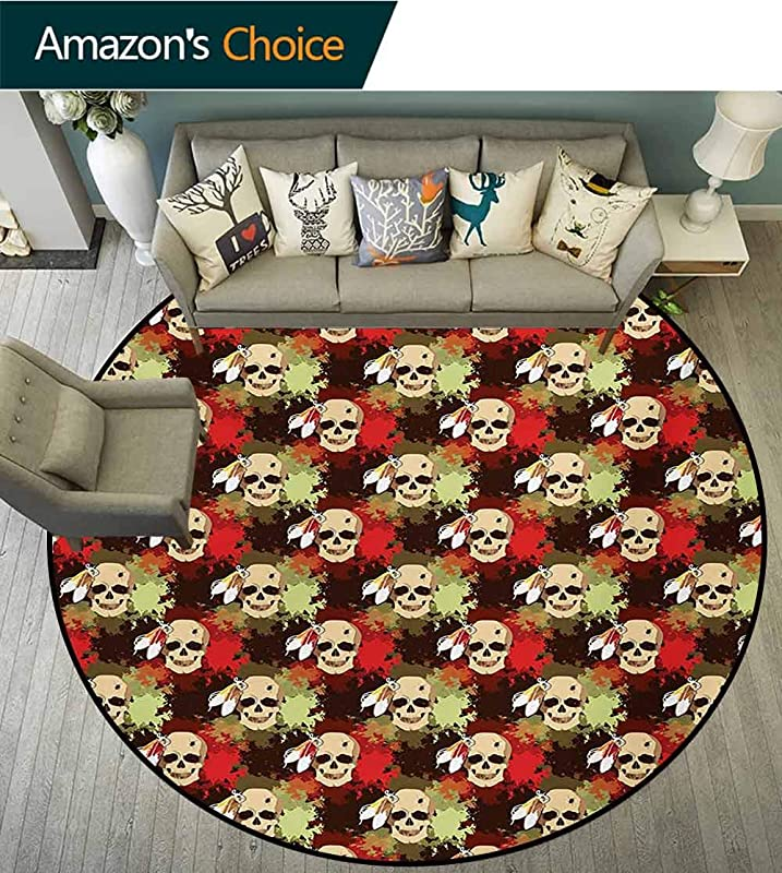 Skull Modern Machine Washable Round Bath Mat Skull With Feathers Ethnic Tribe Backdrop With Colorful Blood Splash Non Slip Living Room Soft Floor Mat Diameter 59 Inch Pistachio Green Red Cream