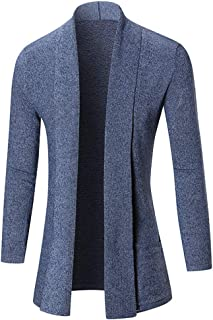 SHYY Cardigan da Uomo Manica Lunga Elegante Trench Coat Caldo Leggero Lungo Cappotto Media Lunghezza Giacca a Vento Sottil...