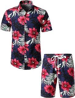 Men's Flower Casual Button Down Short Sleeve Hawaiian Shirt Suits
