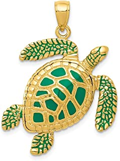 14k Yellow Gold 3 D Enameled Sea Turtle Pendant Charm Necklace Life Animal Snake Reptile Fine Jewelry For Women