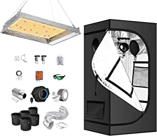 """iPower Grow Tent Kit Complete AL600W Full Plant Light Lamp Indoor Hydroponics 24""""x24""""x48"""" Greenhouse Combo with 4"""" Fan Fil..."""