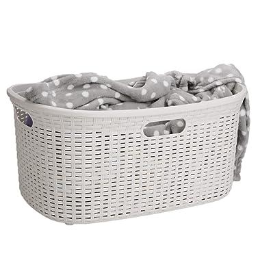 Mind Reader 40LBASK-IVO, Laundry Hamper with Cutout Handles, Washing Bin, Dirty Clothes Storage, Bathroom, Bedroom, Closet, 40 L, Ivory 40 Liter Basket