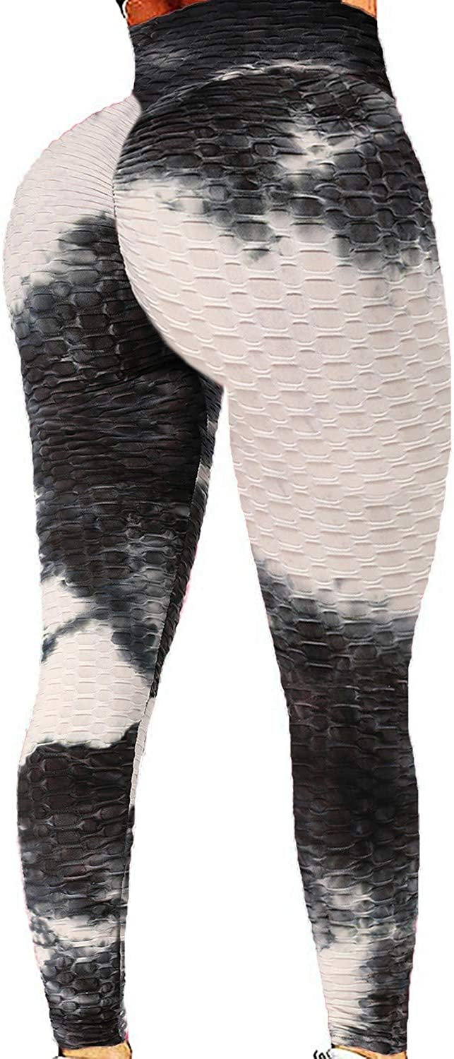 CROSS1946 Sexy Women's Textured Booty Yoga Pants High Waist Ruched Workout Butt Lifting Pants Tummy Control Push Up