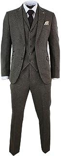 Men's Brown 3Piece Herringbone Tweed Slim Fitted Wool Mix Black Vintage Retro