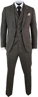 Mens Brown Herringbone Tweed Wool Mix Black 3 Piece Vintage Retro Suit Slim Fit Brown 36