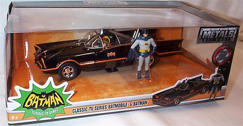 Jada black 1966 batmobile & batman robin figures 1 24 scale diecast model