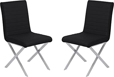Armen Living LCTESIBLBS Tempe Dining Chair Set of 2 in Black Faux Leather and Brushed Stainless Steel Finish