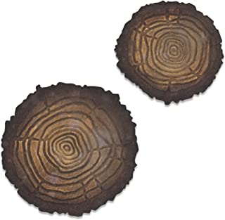 Sizzix 664232 Bigz Die with Texture Fades Embossing Folder Tree Rings Mini by Tim Holtz, Multicolor