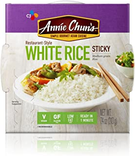 Annie Chun's Cooked White Sticky Rice, Gluten-Free, Vegan, Low Fat, Sushi Rice, 7.4-oz (Pack of 6)