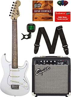 Fender Squier Short Scale 24-Inch Strat Pack - Olympic White Bundle with Frontman 10G Amp, Cable, Tuner, Strap, Picks, Fender Play Online Lessons, and Austin Bazaar Instructional DVD