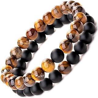 Be Happy with Happy Products Paire de Bracelets Homme Femme Couple Zen en Perle de Pierre Naturelle Onyx et Œil de Tigre G...