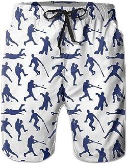 Lixinli Men's Baseball Players Silhouette Boardshorts Beach Shorts