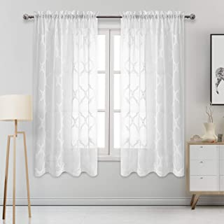 DWCN Moroccan Embroidered Sheer Curtains - Rod Pocket Faux Linen Semi Voile Bedroom and Living Room Curtains, Set of 2 Window Curtain Panels, 52 x 63 Inch Length, Off White
