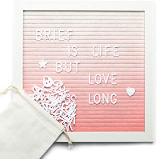"""ARTALL 10"""" x 10"""" Felt Letter Board,Changeable Letter Board with Wooden Frame,Message Board with 340 White Plastic Letters,..."""