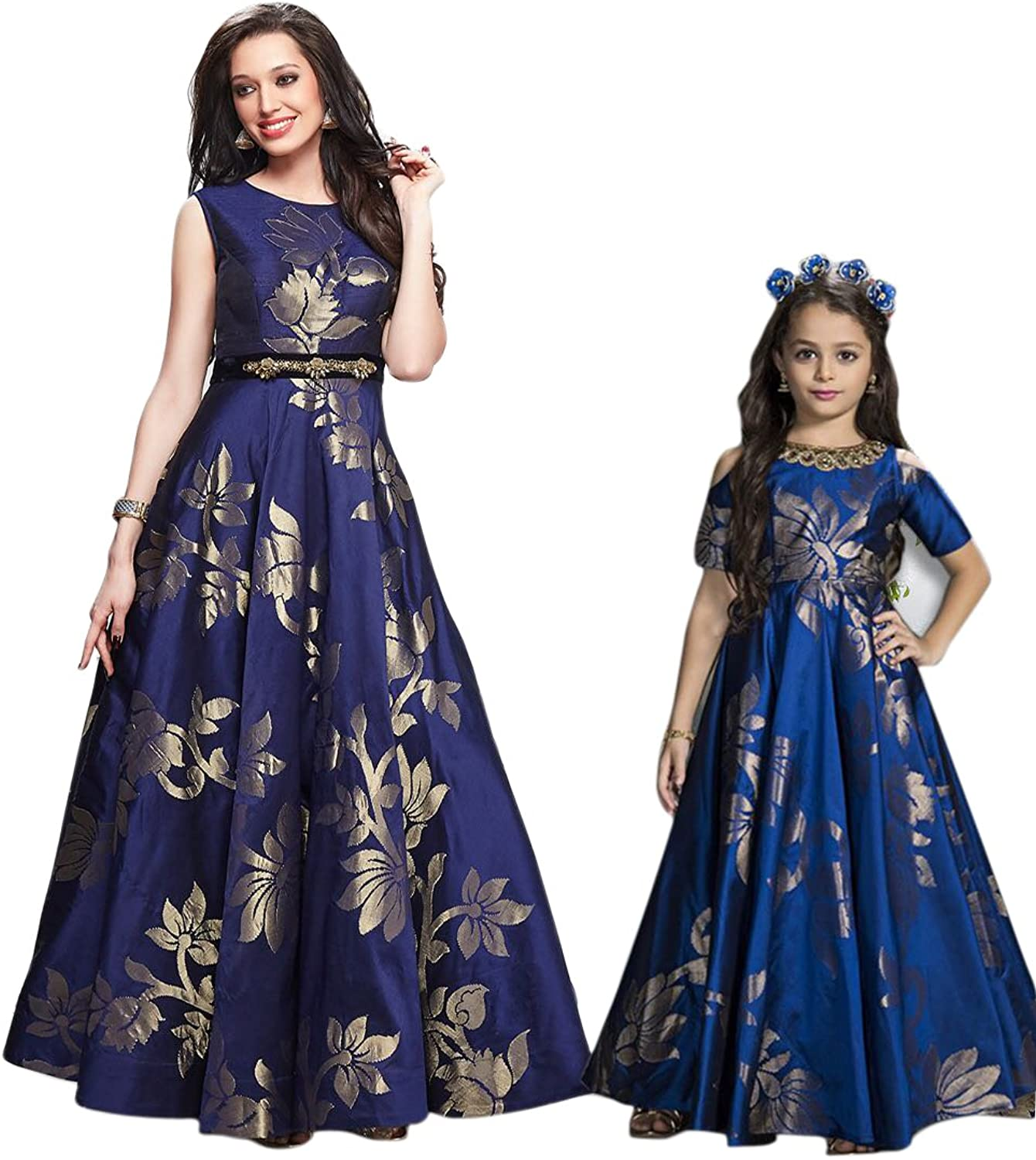 Mannequin Mother Daughter Clothes Dress Family Look Gown Casual Summer Solid bluee