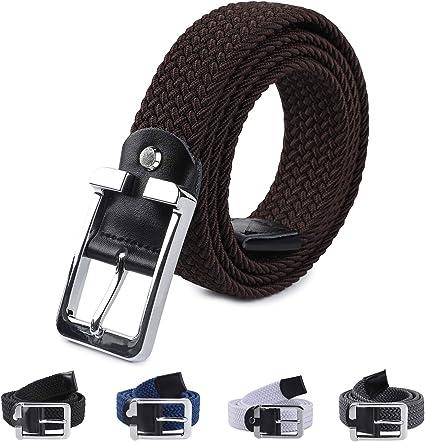 LAKIDAY Cinturon Elastico Mujer y Hombre, Comodo Cinturones Trenzado Negro Gris Azul Marron Oscuro Blanco 33mm (1.25