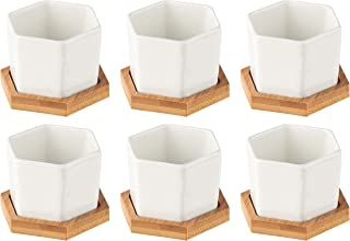 Porcelain Succulent Pots - 6-Pack Hexagon Planters with Bamboo Bases for Small Plants, Garden Decor, White, 2.7 x 2.4 x 1.8 Inches