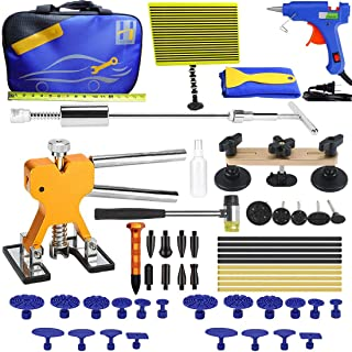 Henergy Dent Removal Kit, Auto Body Paintless Dent Repair Tools with Glue Pulling Tabs for Car Hail Damage and Door Dings Remover 57pcs