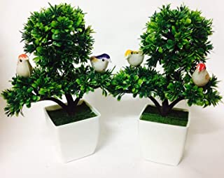 DecoratingLives Artificial Plant Bonsai Potted Mini Simulation Pine Tree Home Office Decor (26cm)(with Birds)(Set of 2)