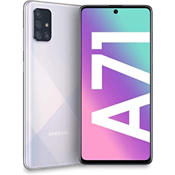 "Samsung Galaxy A71 (128GB, 6GB) 6.7"", 64MP Quad Camera, 25W Fast Charger, Android 10, GSM Unlocked US + Global 4G LTE International Model A715F/DS (128GB + 64GB SD + Case Bundle, Prism Crush Silver)"
