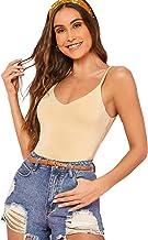 SheIn Women's Casual Basic V Neck Sleeveless Stretchy Regular Length Cami Tank Top