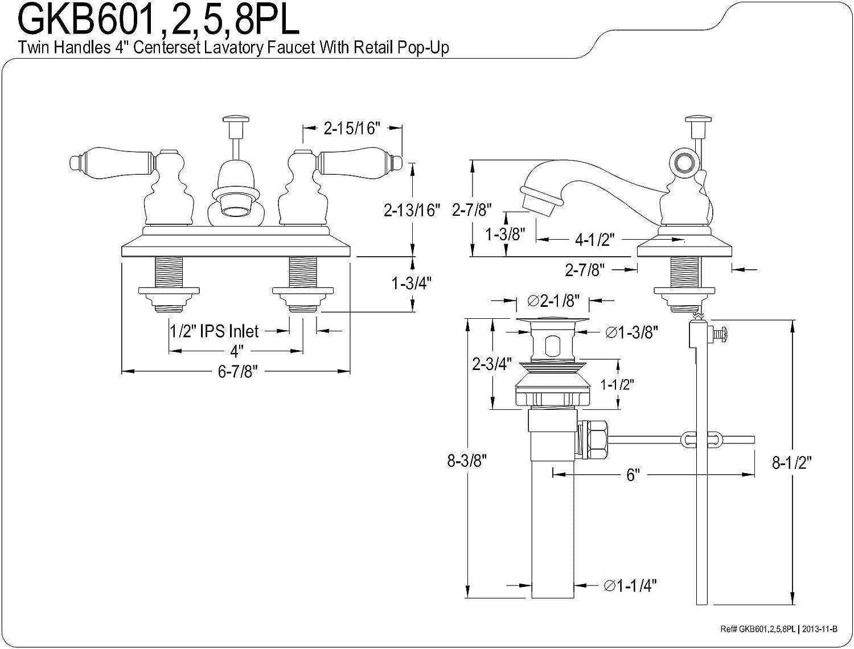 Chrome Kingston Brass GKB601PL Restoration 4-Inch Centerset Lavatory Faucet with Retail Pop-Up